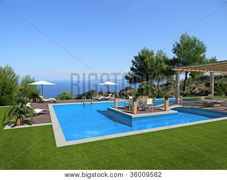 fictitious swimming pool with islet