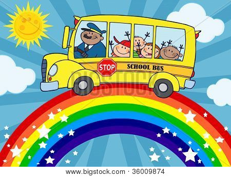 School Bus Around Rainbow