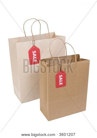 Two Shopping Bags With Sale Tag
