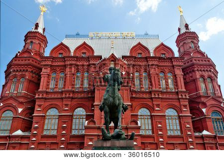 Georgy Zhukov monument against the background of Historical Museum