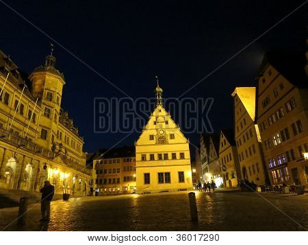 Midnight in Market square of Rothenburg ob der Tauber