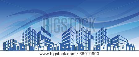 Silhueta da cidade com diferentes tipos de edifícios sobre o céu azul. Eps10