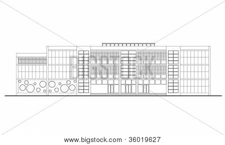 Linear Drawing Of Contemporary School Facade