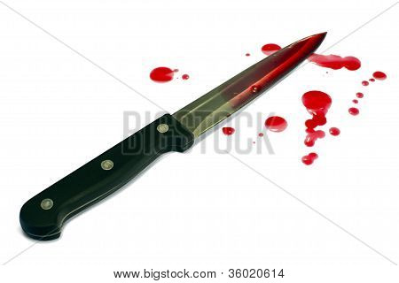 Bloody kitchen knife isolated on white, blood droplets
