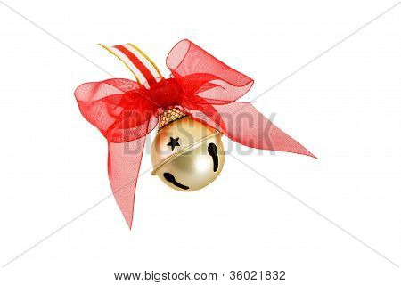 Gold Christmas Jingle Bell With Red Bow