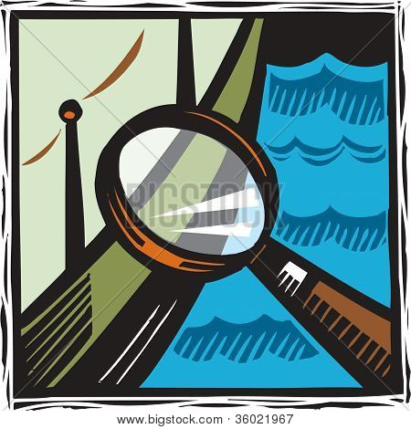 A Magnifying Glass Looking At A Boat