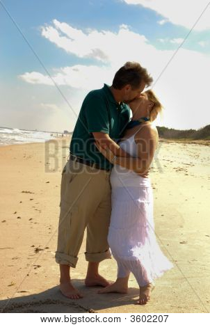 Romatic Kiss On Beach