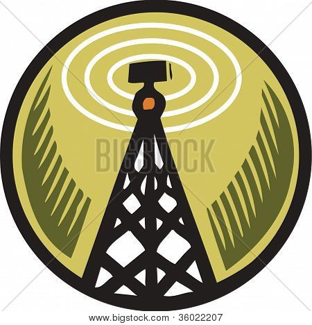A Radio Tower In An Orange Circle