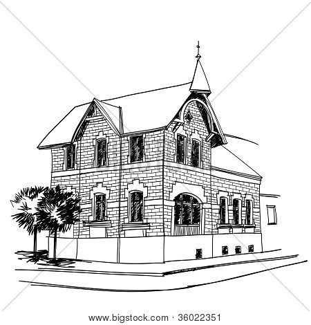 Black And White Sketch Of Traditional Old German Barocque House