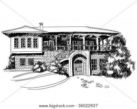 Black And White Sketch Of Big Mediterranean Villa