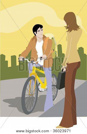 A Woman Talking To A Man On A Bike