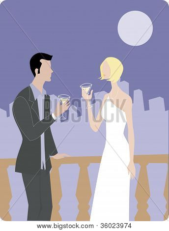 A Man And Woman Drinking Martinis On A Terrace