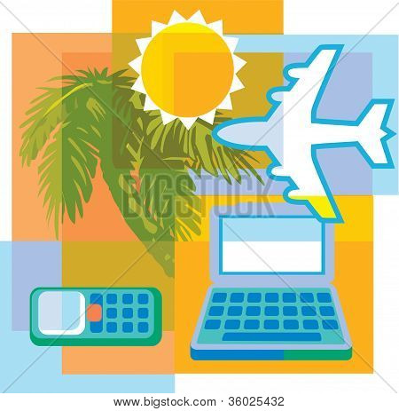 Collage Of A Palm Tree; A Laptop Computer; A Cell Phone; An Airplane; And A Sun