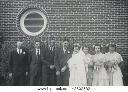 Vintage Wedding Photo Early 1940S