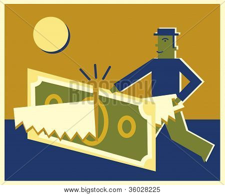 A Businessman Sawing A Dollar Bill