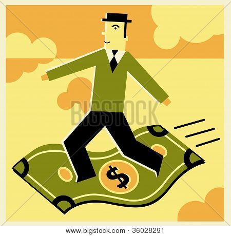 Man Riding A Dollar Bill As A Magic Carpet
