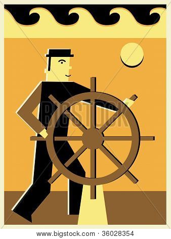 Illustration Of A Man Steering A Ship