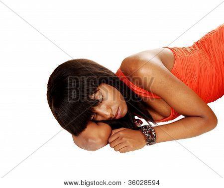Black Girl Lying On Floor.