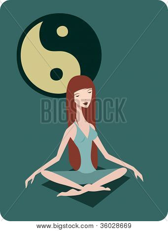 A Woman Meditating In The Lotus Position In Front Of A Ying Yang Symbol