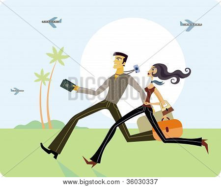 Couple Running With Luggage
