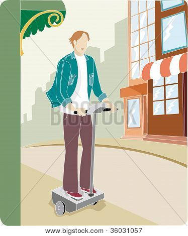 A Man Using A Segway Human Transporter