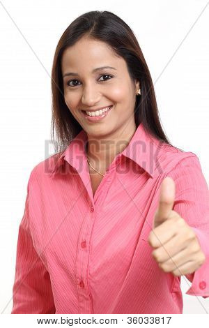 Cheerful Woman With Thumbs Up Gesture
