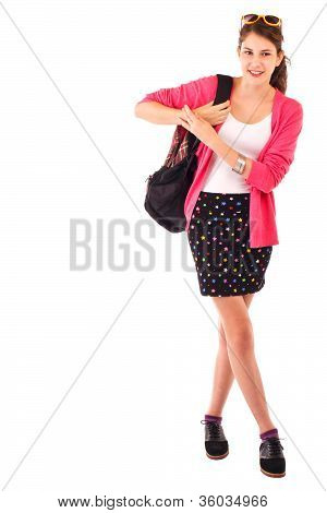 Pretty Smiling Teenage Girl With Ponytail, Bright Pink Sweater, Sunglasses, And Backpack