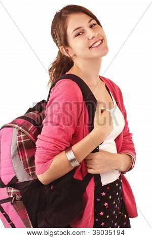 Pretty Smiling Teenage Girl With Ponytail, Bright Pink Sweater, And Backpack