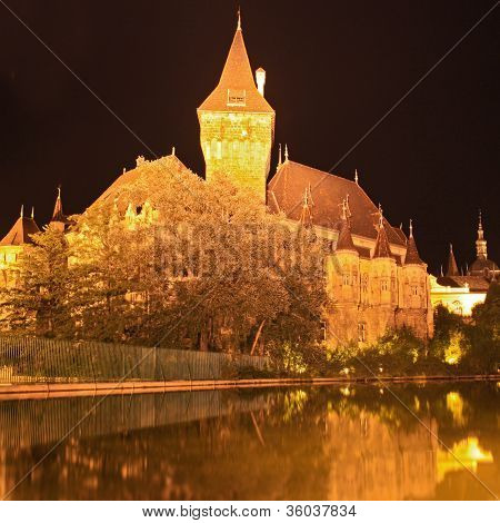 Budapest By Night,  Beautiful  Vajdahunyad Castle , Hungary