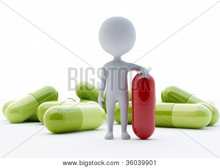 3D Humanoid Character With A Red Capsule