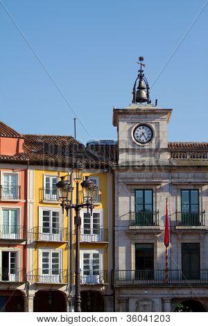 Town Hall Clock In Plaza Mayor (mayor Square) Of Burgos, Spain