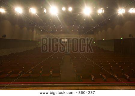 Empty Cinema Auditorium With Spotlights