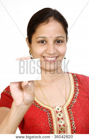 Young Indian Woman With Business Card