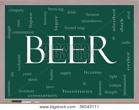 Beer Word Cloud Concept On A Blackboard