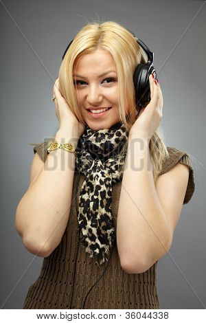 Beautiful Blonde With Headphones
