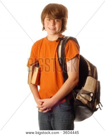 Young Teen Boy With Backpack