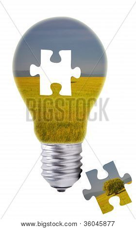Puzzle Concept of a Light Bulb with a Green Field inside