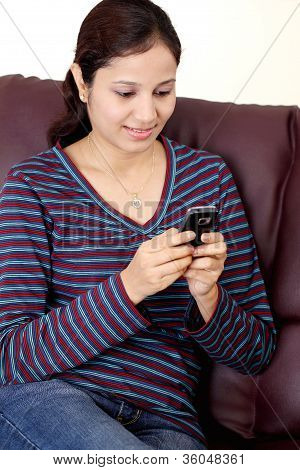 Young Teen Girl Text Messaging