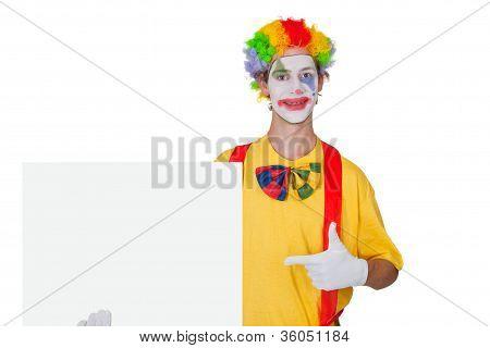 Clown With White Billboard