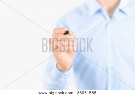 Businessman With Pen Isolated