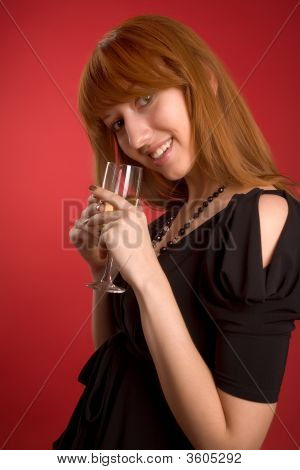 Sexy Girl With Champagne Glass