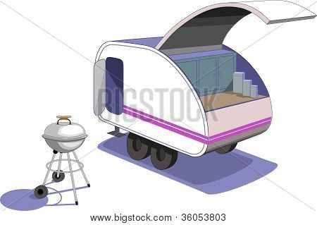 Teardrop trailer and grill
