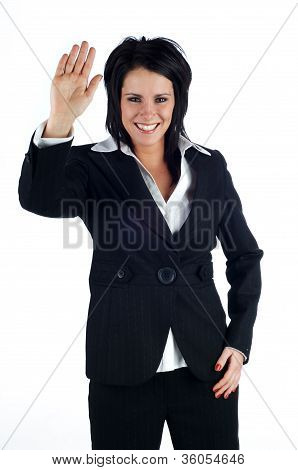 Business Woman Giving A High-5 And Smiling