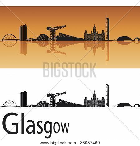 Glasgow skyline in orange background