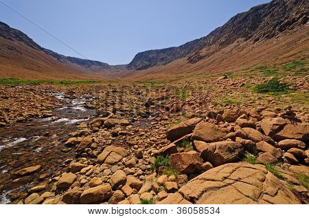 Stream Flowing Through Arid Hills