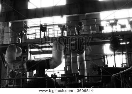 Pipes, Tubes, Machinery Steam Turbine At A Power Plant Black And White