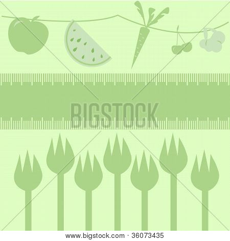 Healthy Diet Fruits, Veggies And Forks/frame Measuring Tape Boarder For Text, Fruits And Veggies Abo