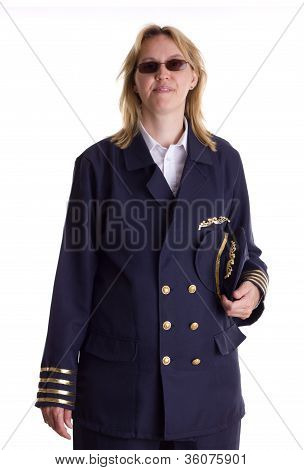 Female Pilot Holding Her Cap In Her Hand