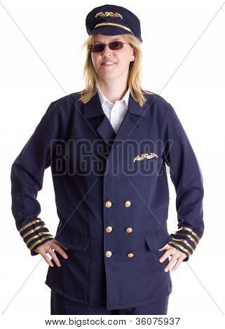 Female Pilot Standing Firm In Her Job