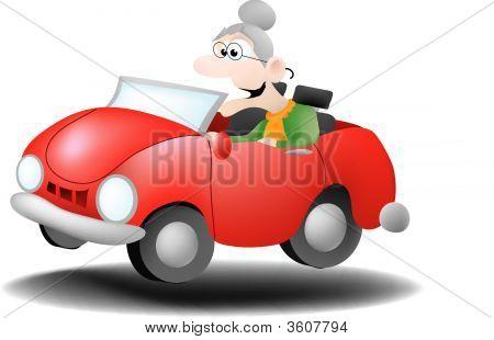 Granny Driving A Convertible